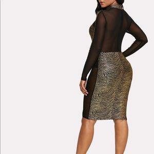 14376f7469 SHEIN Dresses | Sexy See Through Mesh Gold Stripe Dress | Poshmark